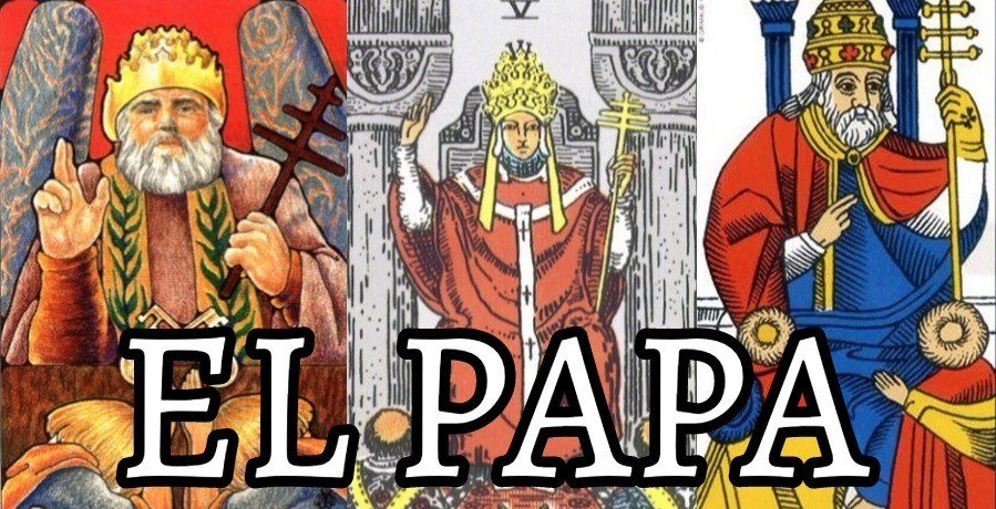 Diferentes ilustraciones del Papa en el tarot