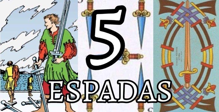 Representaciones del 5 de Espadas en el Tarot de Rider Waite, en la Baraja Española y en el Tarot de Marsella.