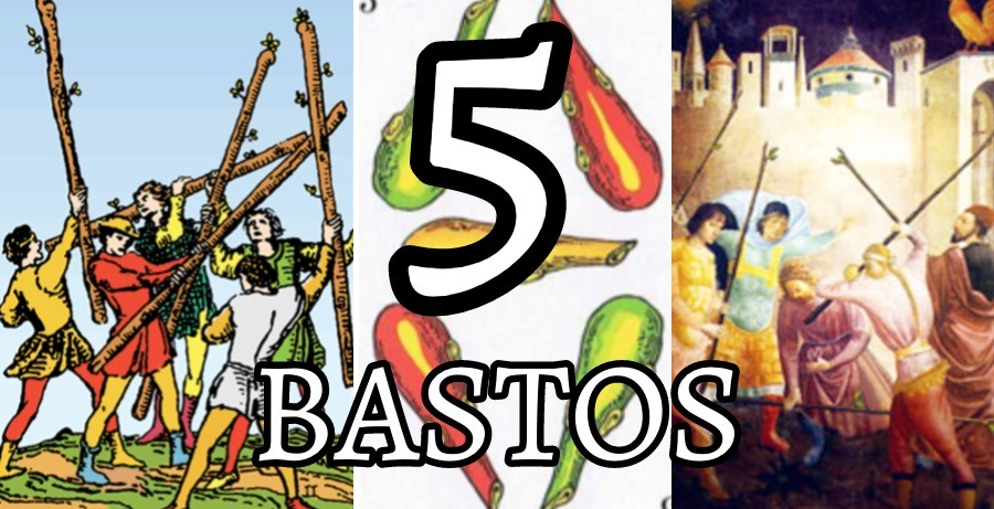 Representaciones del 5 de Bastos en diferentes barajas de Tarot.